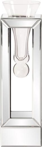 Vase HOWARD ELLIOTT Flared Boxy Base Box Tall Mirror Glass New HE-3205
