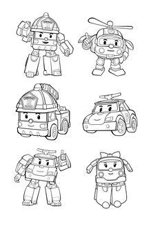 robocar poly 13 ausmalbilder für kinder. malvorlagen zum