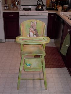 vintage painted wood baby bedroom furniture | Painted Wooden High Chair