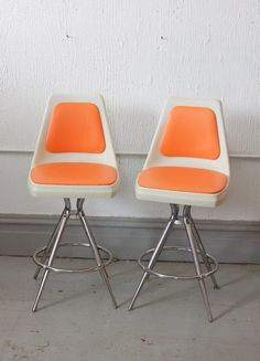 Pair of Mid Century Retro Orange Atomic