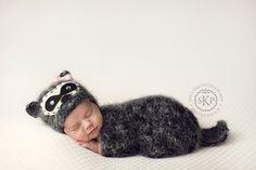 Baby Raccoon hat set, Knit Newborn Hat, Baby Hat, Animal Hat, Great Photo Prop. $55.00, via Etsy. #babyhat @BabyList Baby Registry