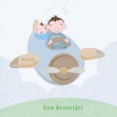 Geboortekaartje broer met jongen in vliegtuig