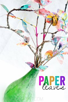 alisaburke: paper leaves -- really cute idea.  Have the kids make big messy art, then use it to make the leaves.  Would make a good Easter tree!