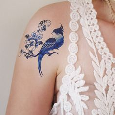 Delfts Blue bird and flower tattoo