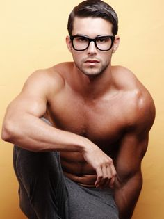 Handsome shirtless hunk with glasses.  Model: Bernardo Velasco   My bf would not like this, but Im posting about fashion. The beauty of glasses.