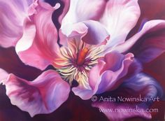 Sensation by Anita Nowinska #art, #painting, #interiors, #flower, #pink
