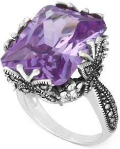 Genevieve & Grace Sterling Silver Ring, Lavender Cubic Zirconia (31-1/2 ct. t.w.) Marcasite and Crystal Butterfly Ring on shopstyle.com