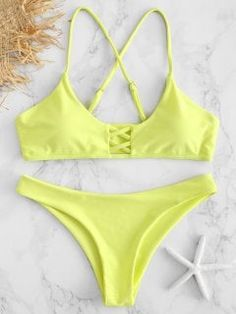 0004410be1f32e Shiny Strappy Bralette Bikini Set in 2019