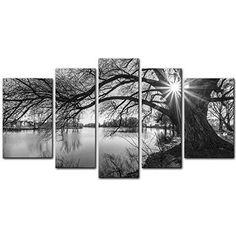 [Framed] Black & White Tree In Sunrise Canvas Art Picture Prints Wall Home Decor #MyEasyArt #ArtDeco