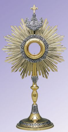 The Trinity Roman Monstrance. Depicts God the Father, God the Son and God the Holy Spirit. Gold plated monstrance with oxidized silver-plated ornamentation. Gold-rimmed glass luna for 2 host. Handmade in Poland. Transfiguration Of Jesus, Jesus E Maria, Oxidized Silver, Sacred Art, Roman Catholic, Religious Art, Holy Spirit, Poland, Blessed Mother
