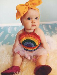 Crocheted Rainbow Halter, Kids Crop Top, Girls rainbow top, Baby summer top, by GoldenHandsDesign on Etsy https://www.etsy.com/listing/226734618/crocheted-rainbow-halter-kids-crop-top