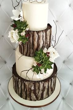 Rustic Wedding Ideas – Reception Ideas and Tips ★ rustic wedding cakes woodland wedding cake with flowers