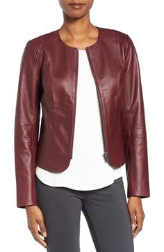 Emerson Rose Zip Front Leather Jacket available at #Nordstrom