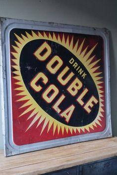 ancienne grande enseigne metal embouti double cola