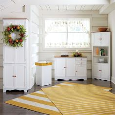 BrylaneHome® Country Kitchen Tall Two-Part Four-Door Pantry White Buffet Cabinet, White Buffet Table, Kitchen Buffet, Kitchen Corner, Country Kitchen, Kitchen Decor Themes, Home Decor, Indoor Outdoor Furniture, Small Doors