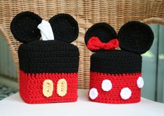 Mickey and Minnie Mouse Tissue Box & Toilet by TampaBayCrochet.