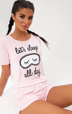 Baby Pink Sleep All Day PJ SetFloat off into the perfect slumber with this PJ set. Featuring supe - Pajama Sets - Ideas of Pajama Sets Cute Sleepwear, Sleepwear Women, Pajamas Women, Pyjamas, Cozy Pajamas, Pajamas All Day, Satin Pyjama Set, Pajama Set, Pajama Outfits