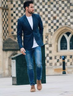 mens suit jacket with jeans and desert boots