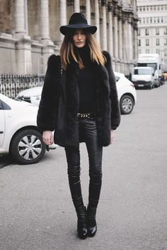 minimal chic // all black outfit of fuzzy coat + turtleneck + leather pants + boots + hat