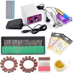 Complete Electric Nail Drill Machine Manicure Pedicure Kit Professional Electric Nail Art File Drill 20000 RPM With 30 Electric Nail File Drill Bits 6 Optional Bits   Filing HeadsSanding Bands