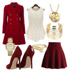 """Ladylike burgundy winter"" by dindrane ❤ liked on Polyvore featuring Gianvito Rossi, Emporio Armani, Chicwish, WithChic, Michael Kors, Bling Jewelry, women's clothing, women's fashion, women and female"