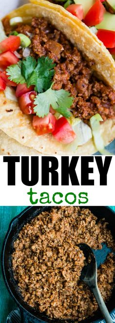 Turkey Tacos - a photo of three tacos full of turkey meat and other garnish on a green plate on a green background - click photo for full written recipe