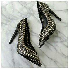 """Luz Studded Pumps by Jeffrey Campbell - RUN LARGE Amazing vegan leather pumps with crystal, grommet and stud trim. Stiletto heels, pointed toes, padded footbed. Run large - fit more like size 6. Refer to measurements for more info. Length 10.25"""", width 3"""", heel height 4.5"""". Nasty Gal Shoes Heels"""