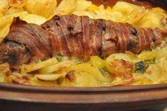 Mørbrad i baconsvøb og flødekartofler i Römertopf Sandwiches, Danish Food, Pork Dishes, Main Dishes, Food Porn, Good Food, Easy Meals, Food And Drink, Potato