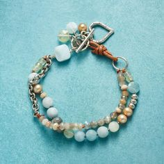 Czech glass and silver plated brass made in France Bohemian chic Bracelet double freshwater pearls pink beige