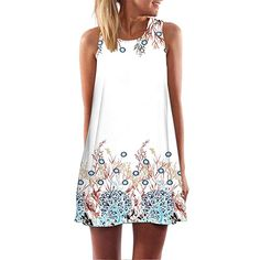 c5aa42a0f2 Ruhiku GW Womens Dress Summer O-Neck Boho Sleeveless Floral Printed Beach  Mini