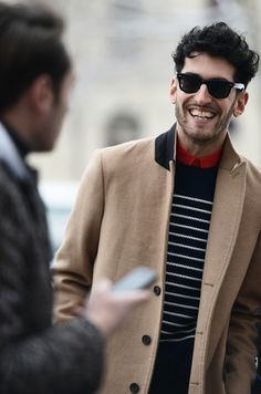 Camel coat, nautical stripes, red button up... perfection!