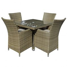 Sienne Rattan Garden Furniture 4 Seat Table Set