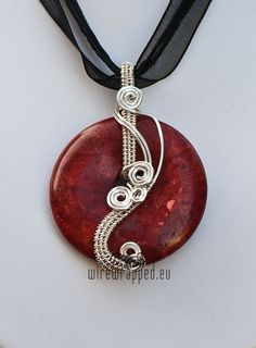 wire wrapped donut pendant | Coral donut wire wrapped pendant