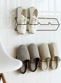 12 brilliant shoe storage ideas that will keep your footwear organized - AYAKKABILIK - 12 brilliant shoe storage ideas that will keep your footwear organized – Save valuable floor spac - Wall Mounted Shoe Storage, Wall Shoe Rack, Shoe Storage Small, Shoe Storage Rack, Diy Shoe Rack, Shoe Organizer, Diy Storage, Shoe Racks, Shoe Storage Ideas For Small Spaces