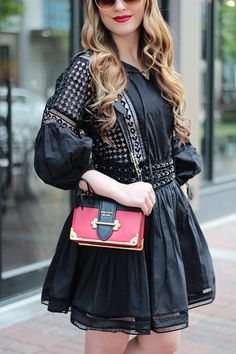 A Trendy Little Black Dress, LBD, outfit ideas, black dress, fashion blogger, Prada cahier bag, Rachel Puccetti, Between Two Coasts blog