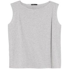 Mango Raw Edge Jersey Top , Pastel Grey ($6.24) ❤ liked on Polyvore featuring tops, shirts, crop tops, tanks, pastel grey, loose shirt, pastel shirts, long-sleeve crop tops, gray shirt and crop tank tops
