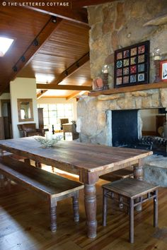 Family size wooden table in kitchen