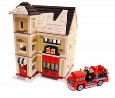 I definitely need to make this to go with my Christmas Village! Winter Village Fire Station & Truck: A LEGO® creation by Brian Lyles : MOCpages.com