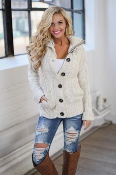 Waiting For You Hooded Sweater - Heathered Khaki