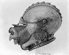 Close Helmet with Mask Visor Date: ca. 1530 Geography: probably Augsburg Culture: German, probably Augsburg Medium: Steel Dimensions: H. 10 3/16 in. (25.86 cm); W. 9 in. (22.86 cm); L. 14 3/8 in. (36.5 cm); Wt. 6, lb. 6 oz. (2892 g) Classification: Helmets Credit Line: Bashford Dean Memorial Collection, Bequest of Bashford Dean, 1928 Accession Number: 29.150.3a