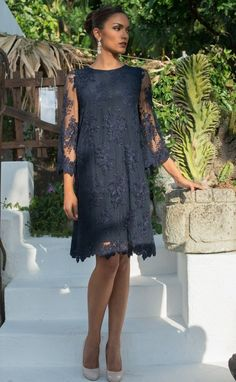 Stylish blue navy dress with floral pattern lace and wonderfull silk lining, three-quarter sleeve. Plus size available. - Stylish blue navy dress with floral pattern lace and wonderfull silk lining, three-quarter sleeve. Mother Of Bride Outfits, Mother Of Groom Dresses, Older Bride Dresses, Summer Mother Of The Bride Dresses, Summer Dresses, Navy Blue Dresses, Navy Dress, Dress Lace, Ideias Fashion