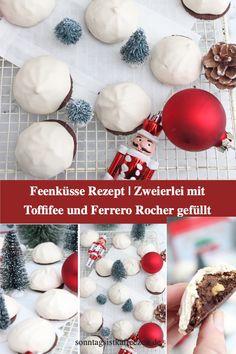 Diese Feenküsse habe ich jeweils mit Toffifee und einmal Ferrero Rocher gefüllt. Sie Feenküsse bestehen aus einem knusprigen Mürbeteig, das aus einem Kakao Plätzchen besteht und darauf habe ich entweder ein Toffifee oder ein Ferrero Rocher gesetzt. Das ganze versteckt sich unter einer leichten Baiserhaube. Die süßen Feenküsse sollten in der Weihnachtszeit auf keinem Plätzchenteller fehlen. #weihnachtsplätzchen #weihnachtsgebäck#weihnachten #advent #feenküsschen #ferrerorocher#toffifee Crockpot Recipes, Diet Recipes, Vegan Recipes, Breakfast Recipes, Dessert Recipes, Ferrero Rocher, Fabulous Foods, Whole 30 Recipes, Weight Watchers Meals