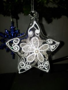 Glass star glitter and pearl Christmas ornament bauble