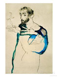 Egon Schiele, Gustav Klimt with blue painter& coat, . Egon Schiele, Gustav Klimt with blue painter& coat, private collection Gustav Klimt, Blue Painting, Painting & Drawing, Camille Pissarro, Art Moderne, Art Graphique, Life Drawing, Art Plastique, Famous Artists