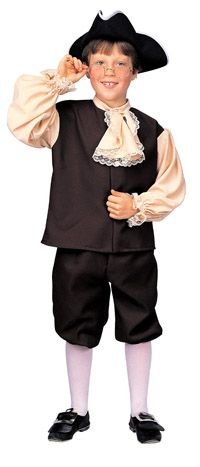 BOYS COLONIAL BEN FRANKLIN HAT JABOT PANTS 4 PC COSTUME L RU10051LG