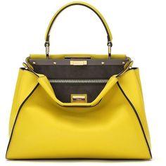Fendi Peekaboo Leather Satchel (98 000 UAH) ❤ liked on Polyvore featuring bags, handbags, apparel & accessories, leather satchel, yellow purse, satchel purse, satchel handbags and genuine leather purse