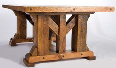 Timber frame dining table.  Want this, but with sturdy extensions for additional seating.