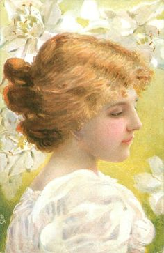 Girl with blonde hair looking down, with white flowers in background. French ~ 1906.