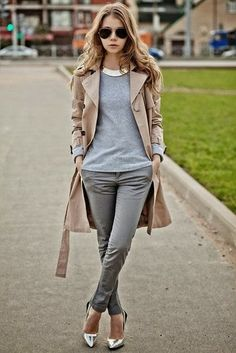 grey sweater + tan trench coat + grey green skinnies + silver heels + silver statement necklace