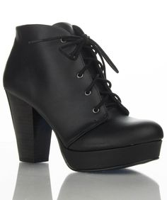 Women's Fashion Vegan Round Toe Stacked Lace Up Ankle Heel Booties BLACK (9)